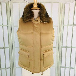 Jones New York Satiny Puffer Vest Faux Fur Collar
